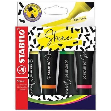 Marca Texto Neon Stabilo Shine - Estojo com 4 cores