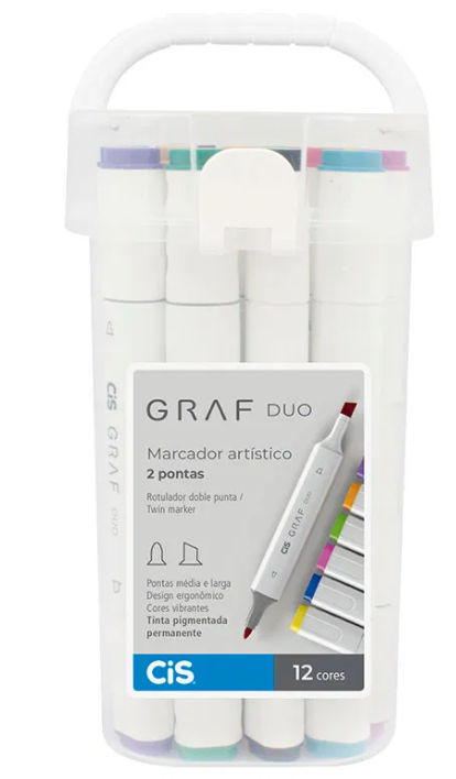 Marcador Artístico GRAF DUO,  Ponta Chanfrada + Bullet - Estojo com 12 cores