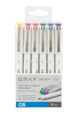 Marcador Artístico GRAF, Ponta Fine Brush - Estojo com 6 cores