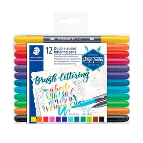 Marcador Brush Letter Staedtler com Ponta Dupla - 12 cores, Ponta pincel e fina