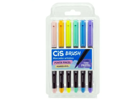 Marcador Cis Brush, Ponta Pincel - Estojo com 6 Tons Pastel