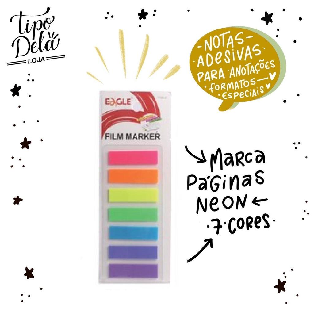 Marcador de Página Neon - Tira reta, 20 folhas por cor