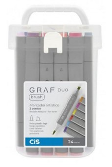 Marcador GRAF DUO, Ponta Chanfrada + Brush - Estojo com 24 cores