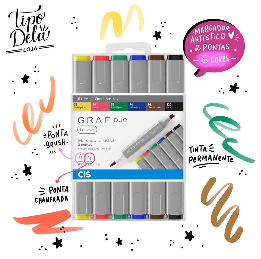 Marcador GRAF DUO, Ponta Chanfrada + Brush - Estojo com 6 cores Básicas