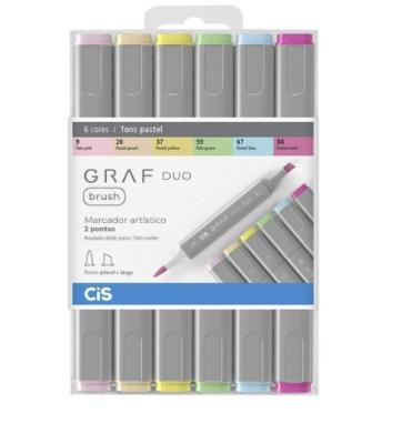 Marcador GRAF DUO, Ponta Chanfrada + Brush - Estojo com 6 cores Pastéis