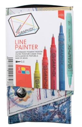 Marcador Paint Pen 0,5mm Derwent - Estojo com 5 cores, Paleta 1