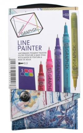 Marcador Paint Pen 0,5mm Derwent - Estojo com 5 cores, Paleta 3