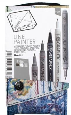 Marcador Paint Pen 0,5mm Derwent - Estojo com 5 cores Tons de Cinza