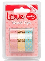 Washi Tape Molin, Estojo com 3 - Rosa/Dourado/Azul