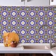 Adesivo de Azulejo Floral Roxo e Amarelo