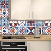 Adesivo de Azulejo Geométrico Branco, Vermelho e Azul