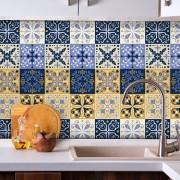 Adesivo de Azulejo Hidráulico Bege e Azul