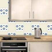 Adesivo de Azulejo Português Clássico Azul e Bege 2