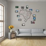Adesivo de Parede Mapa do Brasil com Molduras
