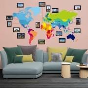 Adesivo de Parede Mapa Mundi Colorido com Molduras