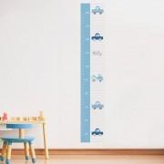Adesivo de Parede Regua Infantil Carrinhos Azul