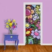 Adesivo de Porta Grafite Flores