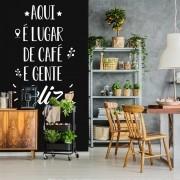 Adesivo Parede Frase Aqui é Lugar de Café