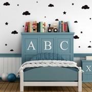 Kit de Adesivos Infantis Estrelas e Nuvens Preto