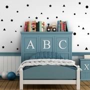 Kit de Adesivos Infantis Estrelas, Triângulos e Círculos Preto