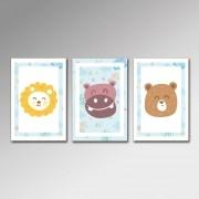 Placa Decorativa - Leão Rhino e Urso Kids