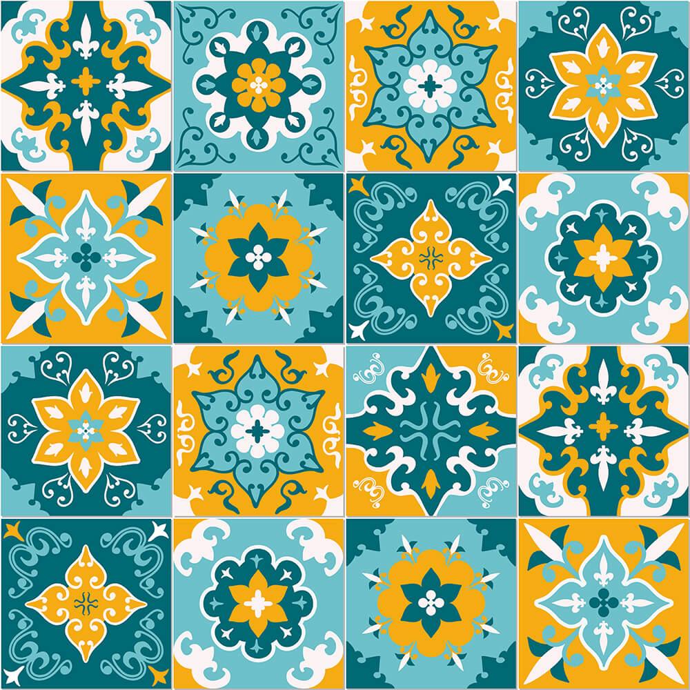 Adesivo de Azulejo Abstrato Branco, Azul e Laranja