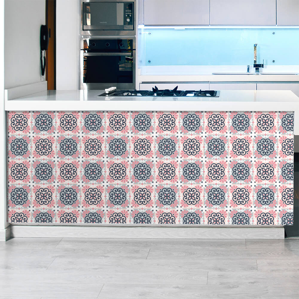 Adesivo de Azulejo Abstrato Rosa e Cinza