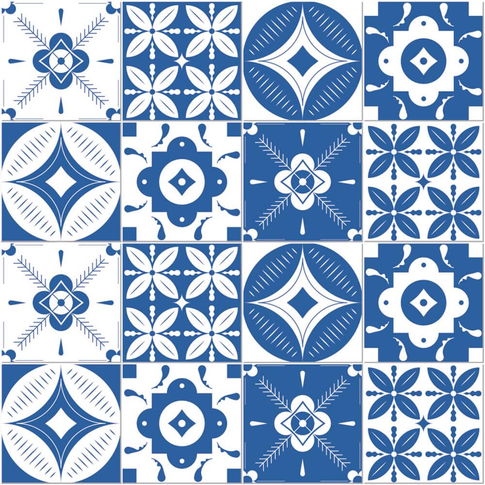 Adesivo de Azulejo Caleidoscópio Azul