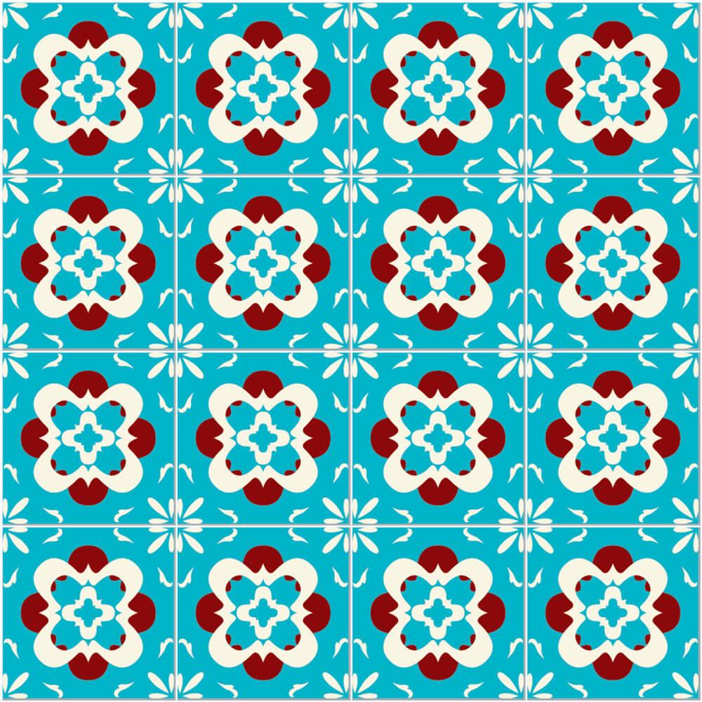 Adesivo de Azulejo Colonial Azul Celestial