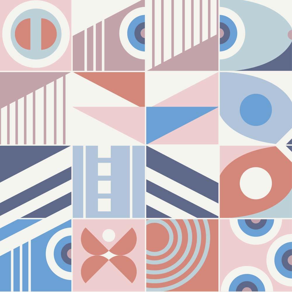 Adesivo de Azulejo Flat Shapes com Linhas 4