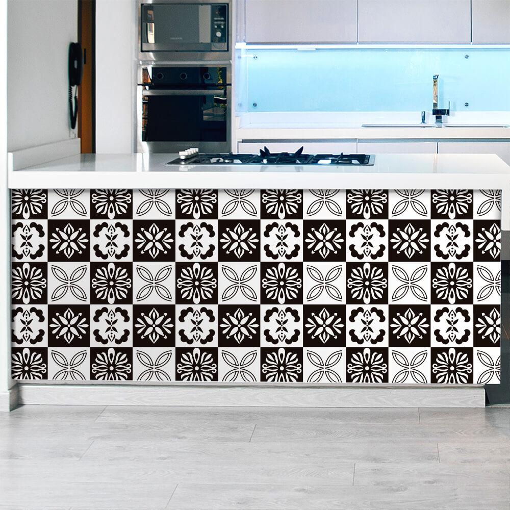 Adesivo de Azulejo Floral Preto e Branco