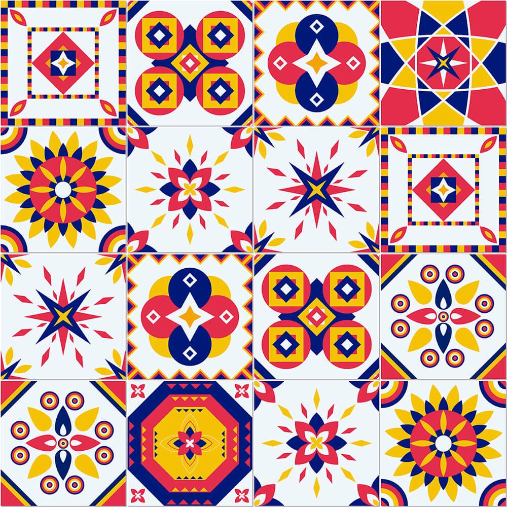 Adesivo de Azulejo Geométrico Abstrato Vermelho Azul e Amarelo
