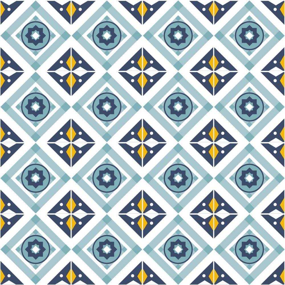 Adesivo de Azulejo Geométrico Azul e Amarelo