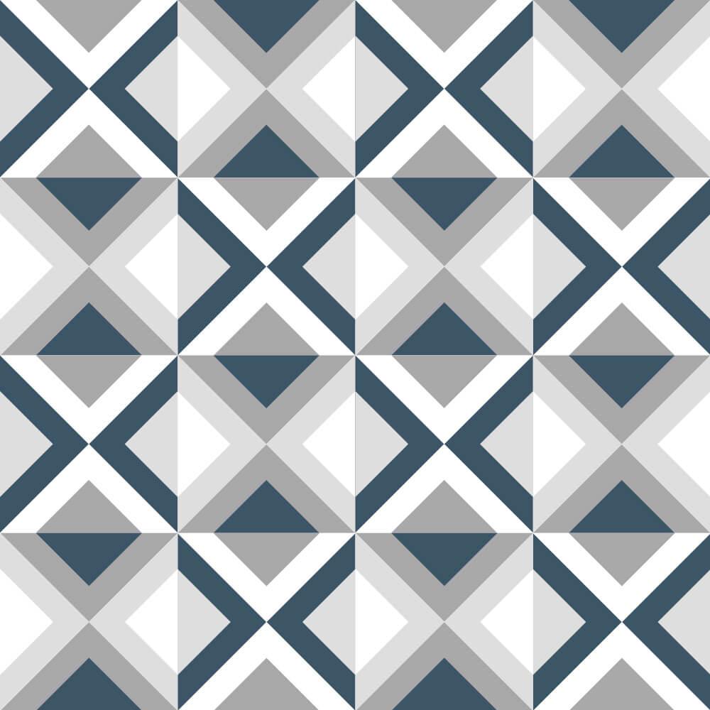 Adesivo de Azulejo Geométrico Azul e Cinza