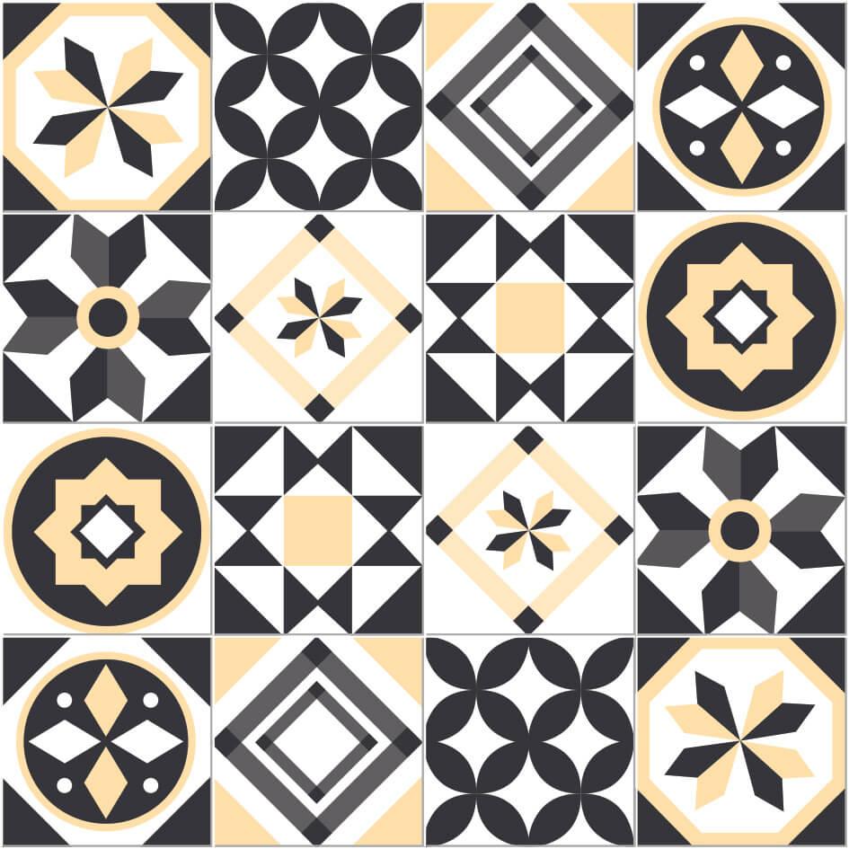 Adesivo de Azulejo Geométrico Bege e Cinza
