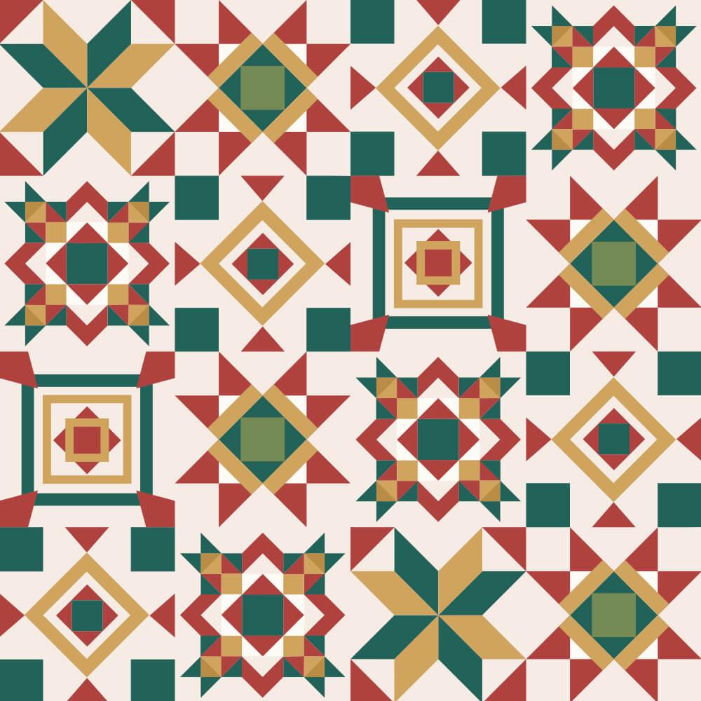Adesivo de Azulejo Geométrico Cores Natalinas