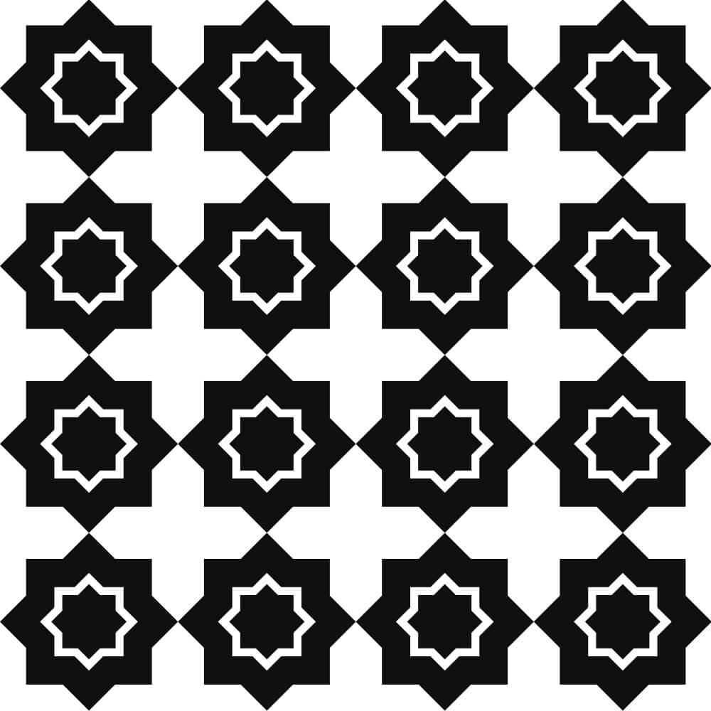 Adesivo de Azulejo Geometrico Preto e Branco 2