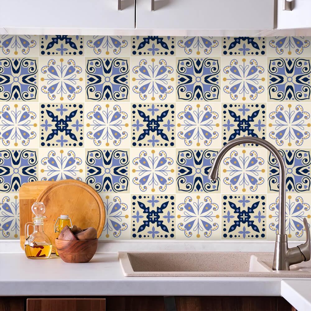 Adesivo de Azulejo Hidráulico Bege e Azul 2