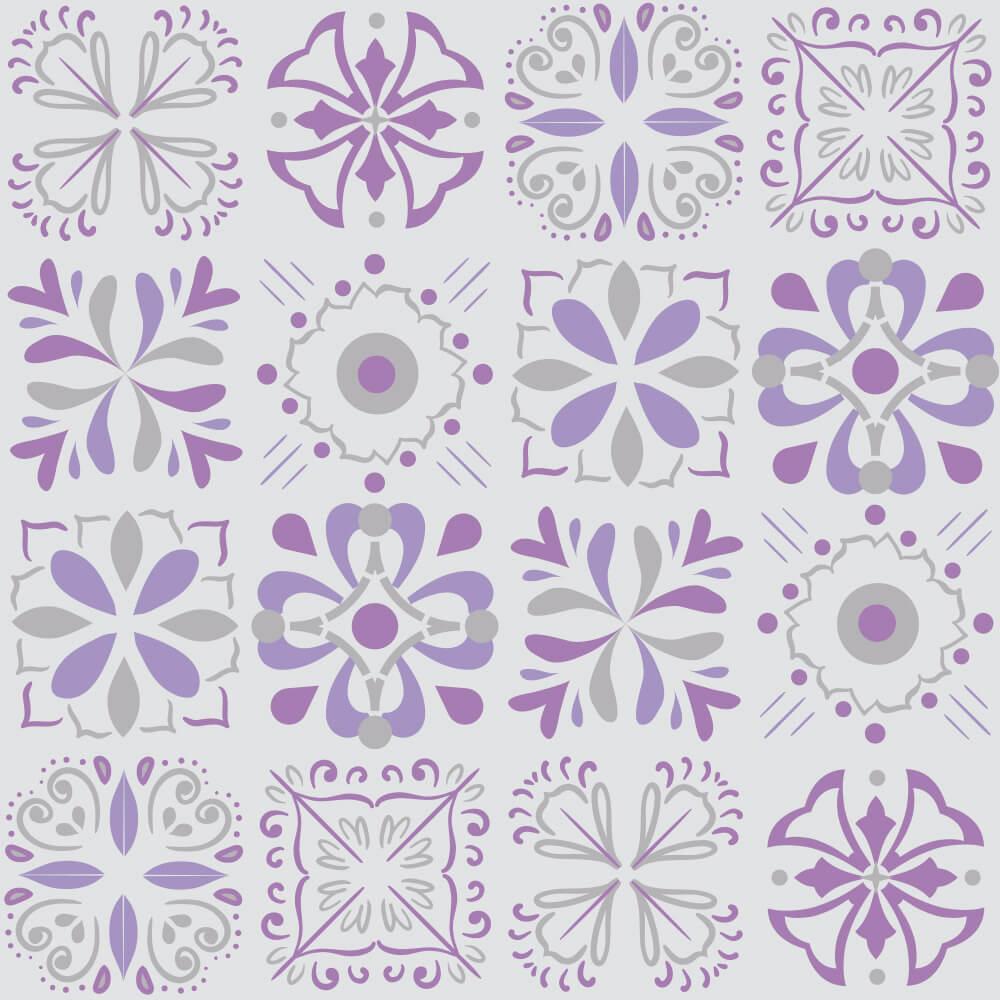 Adesivo de Azulejo Hidráulico Cinza e Roxo