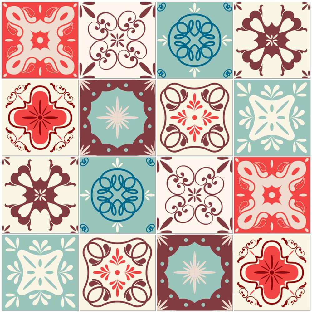 Adesivo de Azulejo Hidráulico Retrô 1