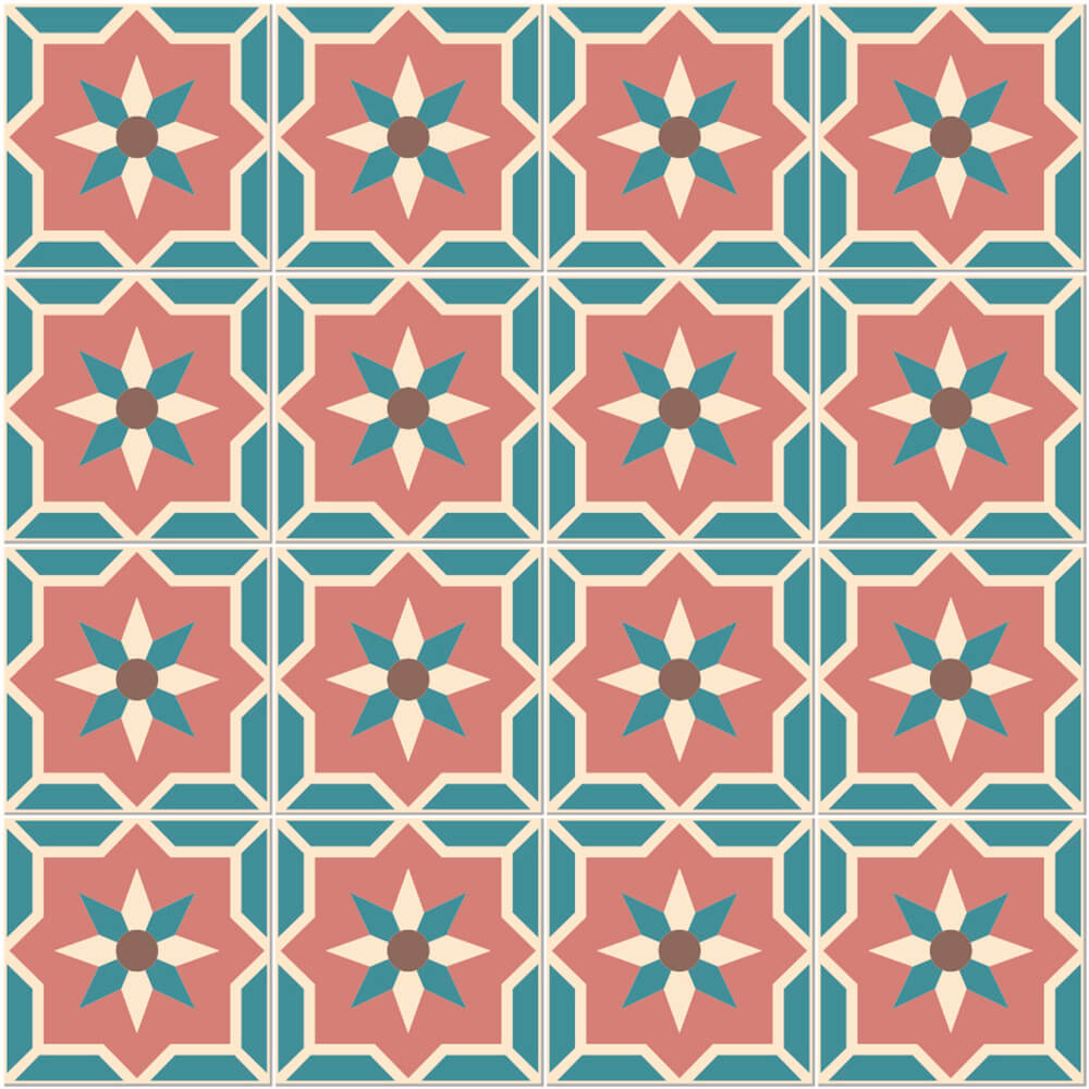 Adesivo de Azulejo Hidráulico Retrô 2
