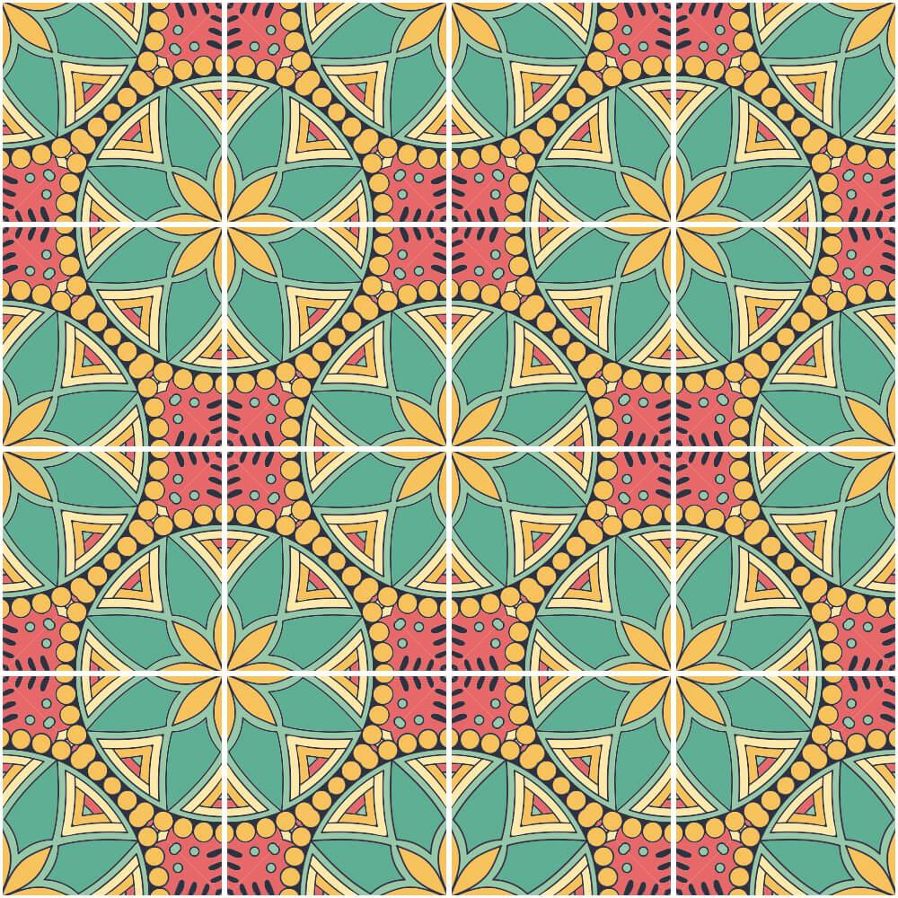 Adesivo de Azulejo Mandala Floral