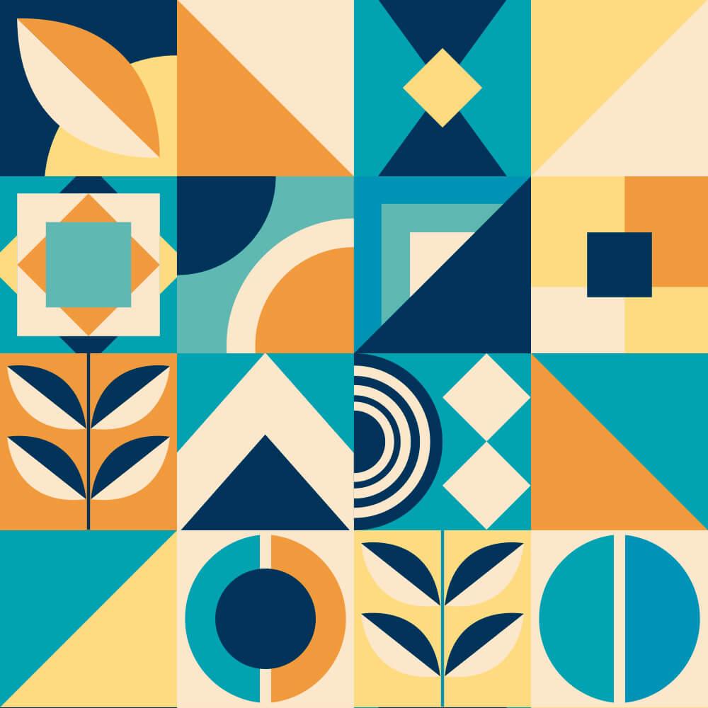Adesivo de Azulejo Moderno Azul, Laranja e Amarelo