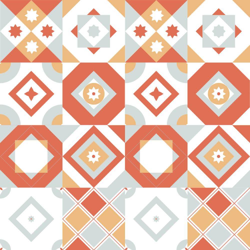 Adesivo de Azulejo Moderno Laranja e Cinza