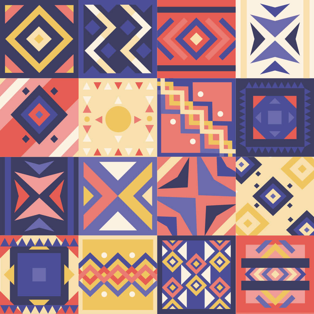 Adesivo de Azulejo Moderno Roxo, Bege e Rosa