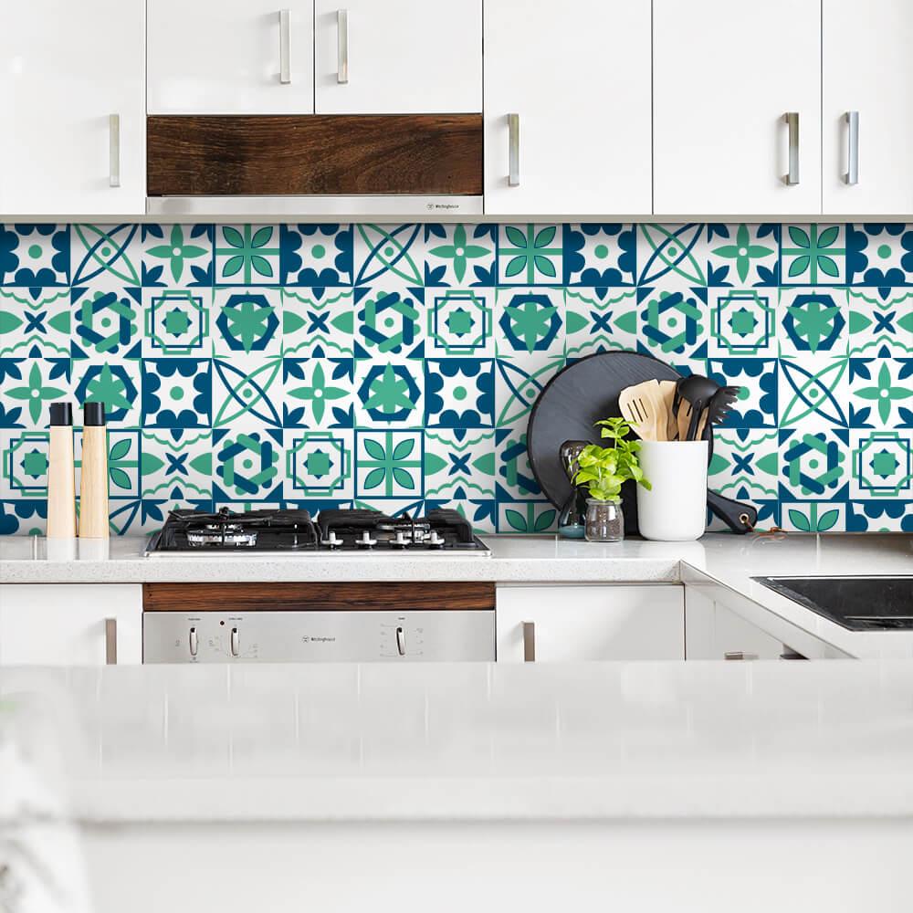 Adesivo de Azulejo Moderno Verde e Azul