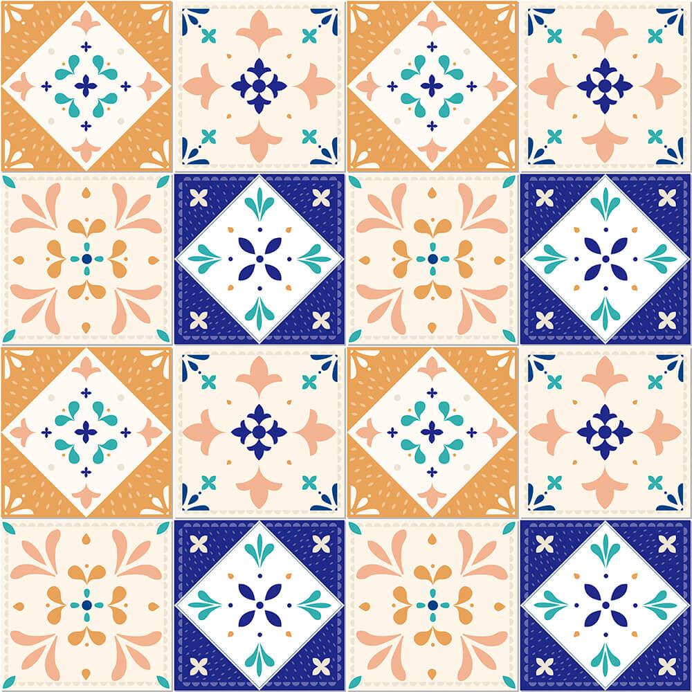 Adesivo de Azulejo New Classic Laranja, Azul e Verde