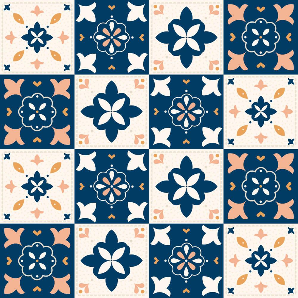Adesivo de Azulejo New Classic Laranja, Bege e Azul