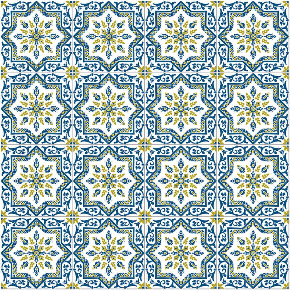 Adesivo de Azulejo Português Azul e Amarelo