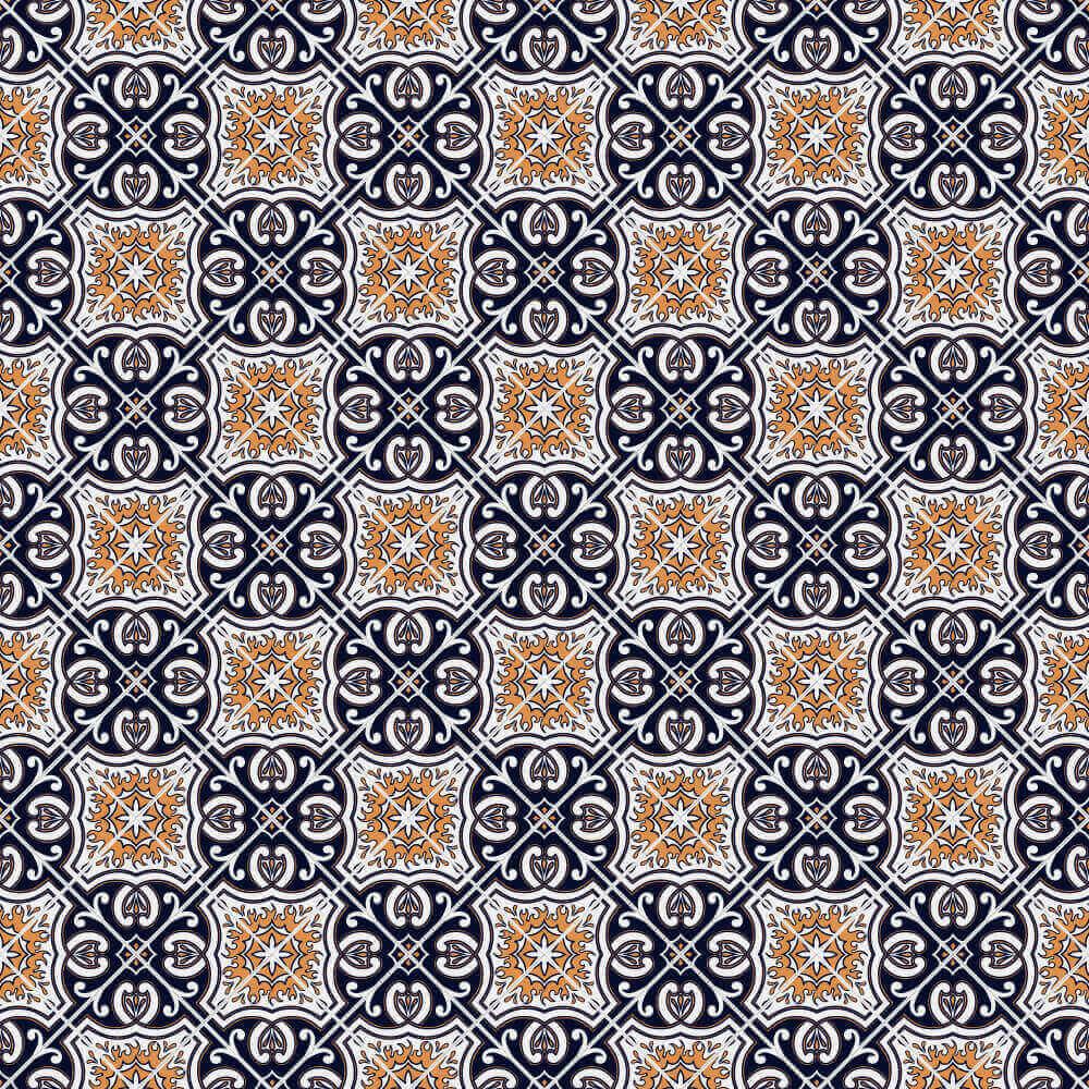 Adesivo de Azulejo Português Azul e Laranja